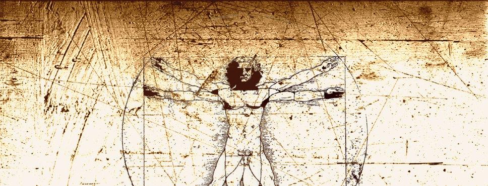 Zeichnung von Leonardo da Vinci zur Anatomie des Menschen.