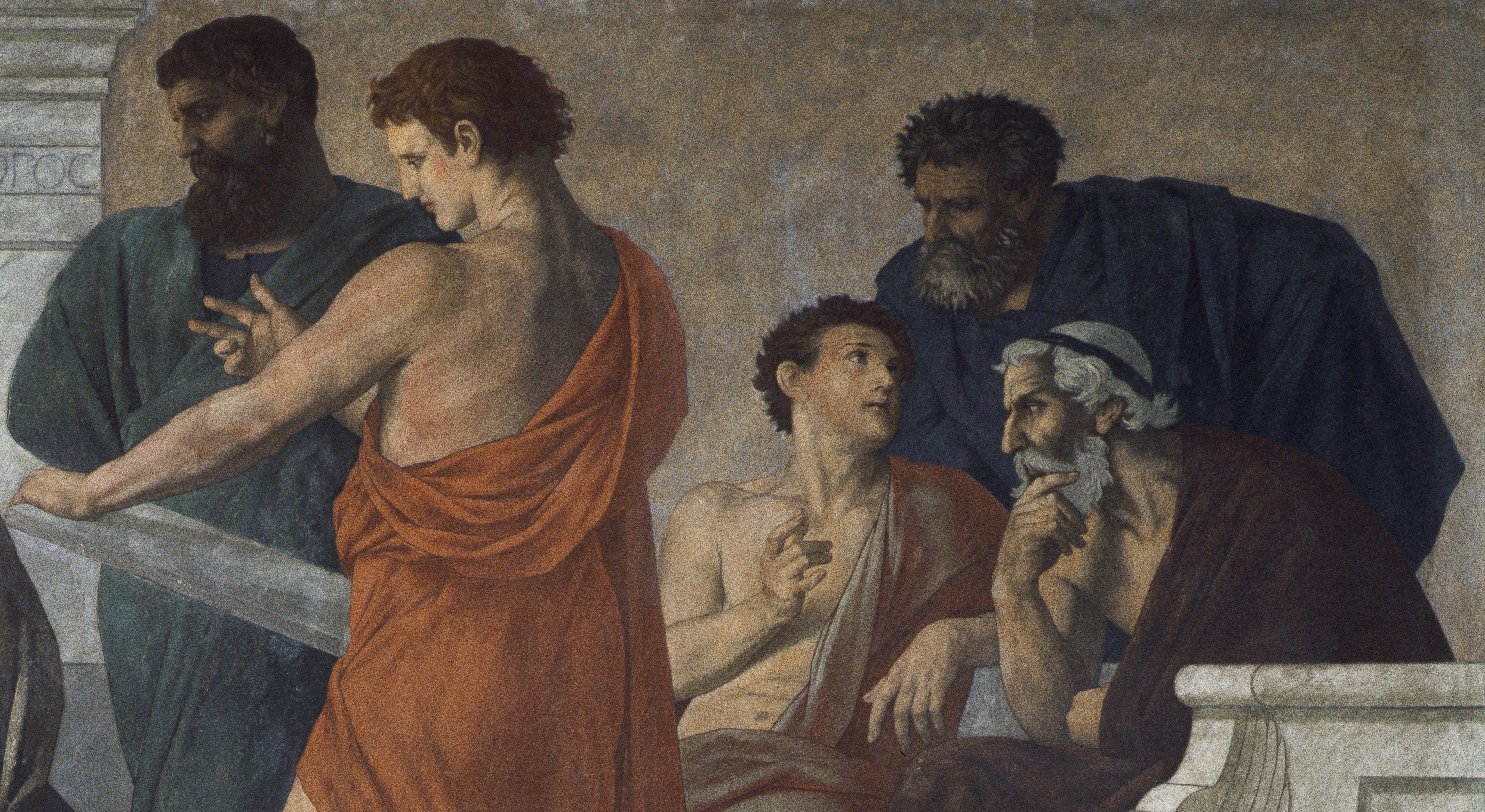 Wandgemälde: Aristoteles und seine Schüler