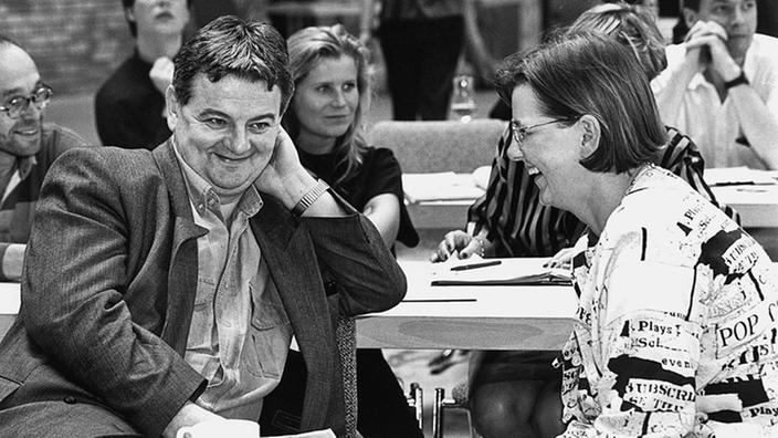 Con Joschka Fischer en la conferencia de delegados federales de Bündnis90 / Die Grünen en Leipzig en mayo de 1993.