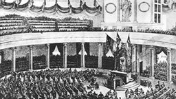 Zeichnung: Die erste Sitzung der Nationalversammlung am 18.05.1848 in der Frankfurter Paulskirche