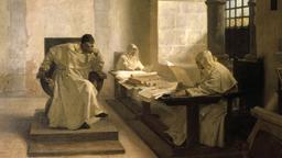 Oil painting of three inquisitors in advising