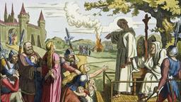 Wood engraving: 'Konrad von Marburg, the papal Ketzemeister'