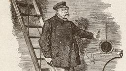 Die berühmte Karikatur des britischen Satiremagazins 'Punch' vom 29. März 1890 zeigt, wie Bismarck über das Fallreep von Bord eines Schiffes geht. Mit gekreuzten Armen lehnt Kaiser Wilhelm II. über der Bordwand und lächelt scheinbar zufrieden. Er trägt die deutsche Kaiserkrone auf dem Kopf.