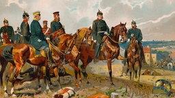 Eine zeitgenössische Farblithografie zeigt vereinigte bayerische und preußische Truppenverbände bei der Erstürmung der französischen Stadt Orléans. Teile der Stadt brennen und sind in dichten Rauch gehüllt.