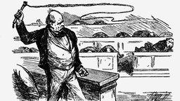 Eine Karikatur zeigt Bismarck als Politiker, wie er im Parlament des Norddeutschen Bundes die Peitsche schwingt. Die Abgeordneten ducken sich in ihren Bänken.