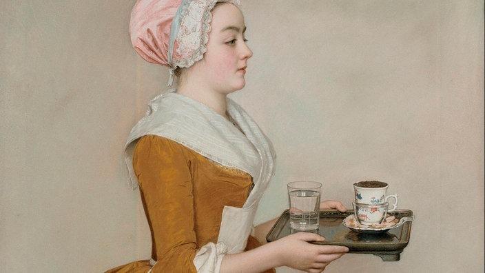 """cuadro """"La chica chocolate"""" de 1744: una criada con delantal lleva una bandeja con un vaso de agua y una taza de cacao"""