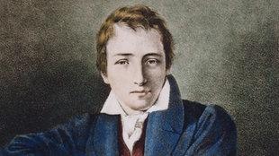 Kolorierte Lithographie des deutschen Schriftstellers Heinrich Heine.