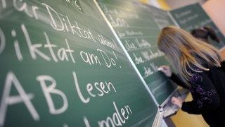 Kinder zeigen in der Schule auf.