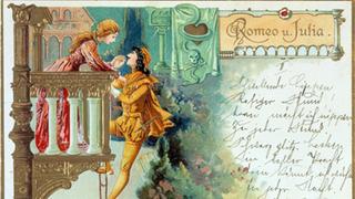 """Postkarte mit einem """"Romeo und Julia""""-Motiv."""
