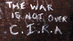 "Graffiti ""The war is not over C.I.R.A""."