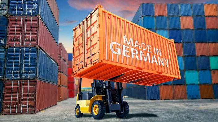 "Container mit Aufschrift ""Made in Germany""."