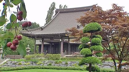 Jo Hiller besucht eine buddhistische Tempelanlage in Düsseldorf.