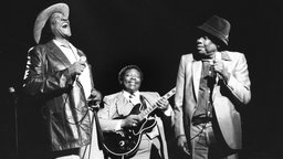 Konzert in London: die Blues-Musiker Bobby Bland, John Lee Hooker und B.B. King.