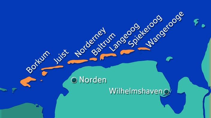 Karte Nordseeküste Niedersachsen.Nordsee Ostfriesische Inseln Nordsee Kultur Planet Wissen