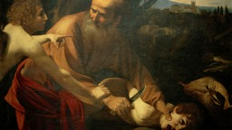 Painting: Abraham just want to cut your throat screaming his son with a knife, but is held back by an angel.