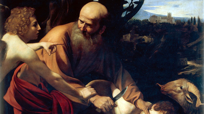 Gemälde: Abraham willseinen Sohn Isaak opfern.