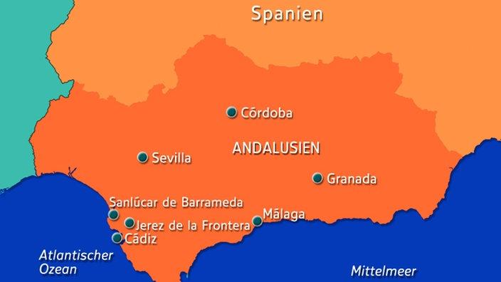 Karte Andalusien Cadiz.Andalusien Autonome Region Südeuropa Kultur Planet Wissen