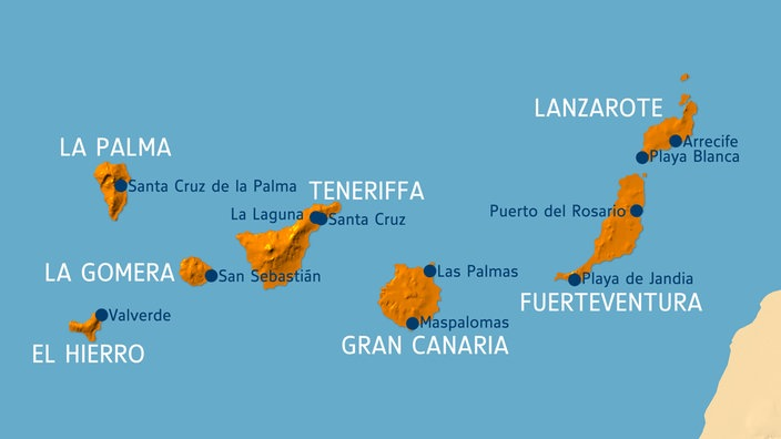 Kanaren Inseln Karte.Südeuropa Kanaren Südeuropa Kultur Planet Wissen