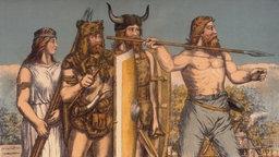 Zeichnung: Germanen verschiedener Stämme