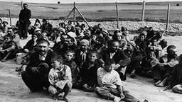 """grupo de """"Gitanos"""" en el campo de concentración de Belzec (Polonia)"""