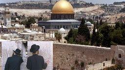 Stadtansicht Jerusalem mit Klagemauer. Davor kleines Bild mit betenden Juden an der Klagemauer.