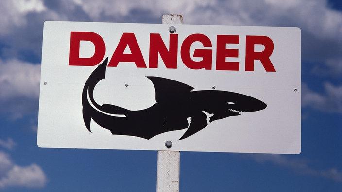 """Escudo con las palabras """"Peligro"""" y la imagen de un tiburón"""