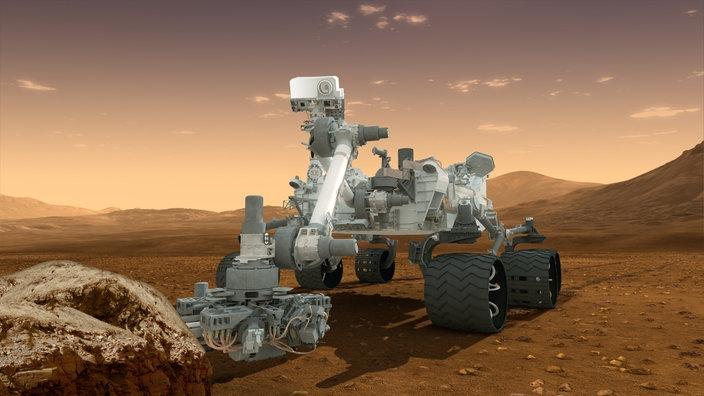 Künstlerische Darstellung des Rovers Curiosity bei seiner Arbeit auf der Marsoberfläche.