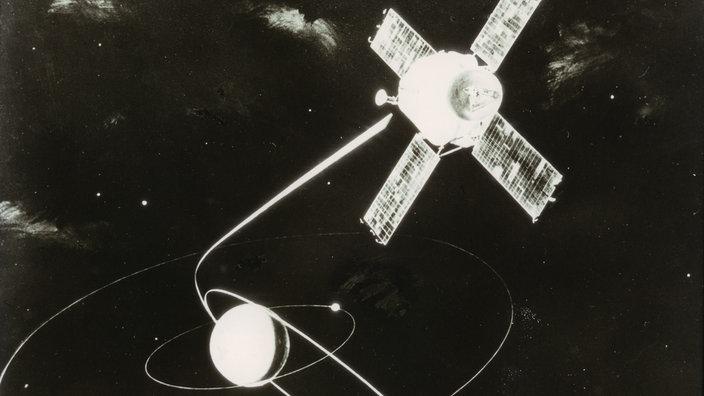 Das Bild zeigt schmematisch die Raumsonde Mariner 9 im Weltall.