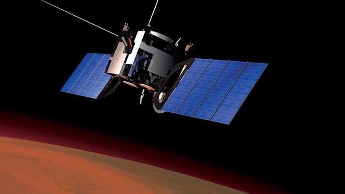 Grafik mit der Sonde Mars Express vor dem Mars im Weltraum