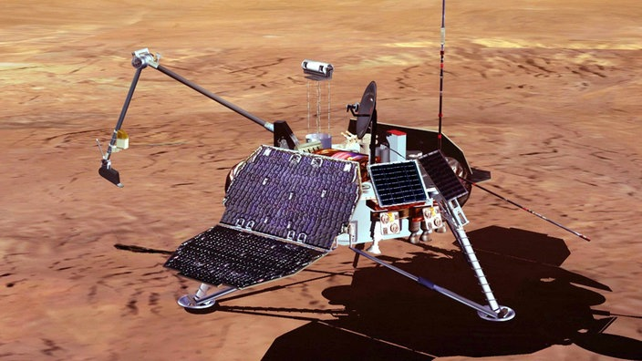 Grafik des Mars Polar Lander auf der Marsoberfläche
