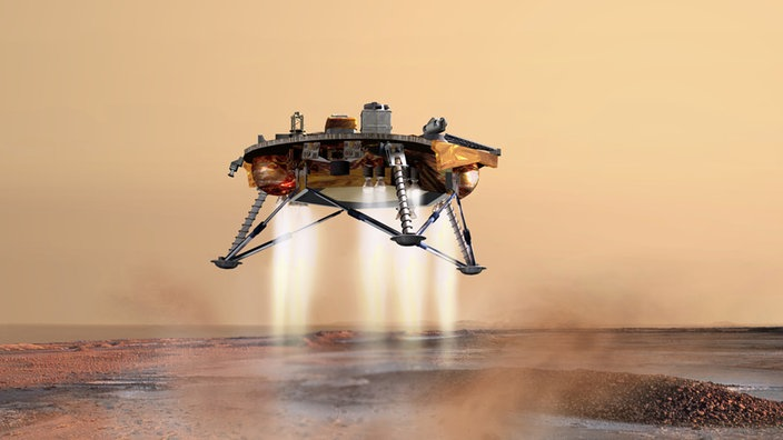 Künstlerische Darstellung der Phoenixsonde wenige Sekunden vor ihrer Landung auf der Marsoberfläche.