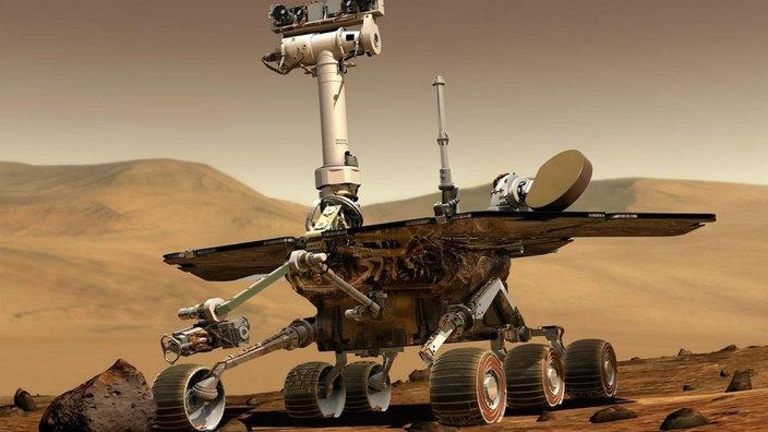 Künstlerische Darstellung eines der Marsrover auf der rötlichen Oberfläche des Mars.