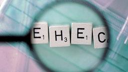 """Scrabbel-Buchstaben zu Wort """"EHEC"""" zusammengelegt unter Lupe."""