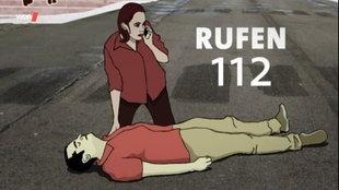 Grafik: Ein Mann liegt bewusstlos auf der Straße, über ihm kniet eine Frau mit Handy