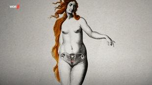 Historisch wirkende Zeichnung einer nackten Frau mit Gebärmutter