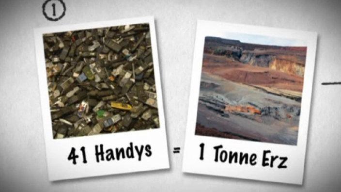 Foto von einem Haufen alter Handys und einem Erzgebirge. In 41 Handy stecket eine Tonne Erz.