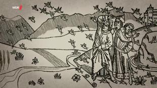 Historische Zeichnung: drei Menschen auf einem Feld versuchen sich vor heranfliegenden Heuschrecken zu schützen