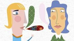 Illustration: Köpfe von zwei Frauen mit Sprechblasen.