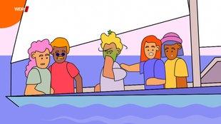 Fünf gezeichnete Personen auf einen Segelbott, einer ist grün im Gesicht