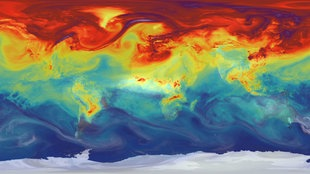 Weltkarte mit CO²-Ausstoß in rot.