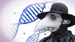 Pestarzt mit schwarzer Kleidung und schwarzem Hut und einer weißen Schnabelmaske, im Hintergrund die grafische Darstellung eines DNA-Stranges.