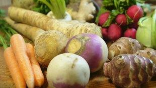 Verschiedene Gemüsesorten liegen nebeneinander auf einem Tisch.