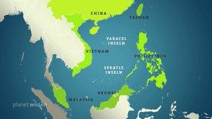 Karte des süd-chinesischen Meeres, mit den Anrainerstaaten.