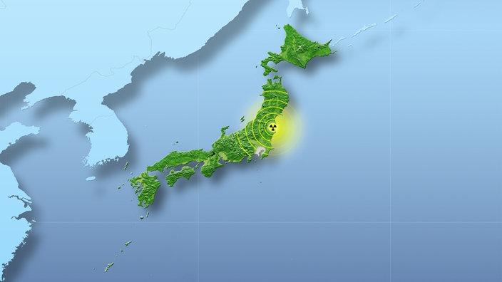 Eine Karte von Japan mit Standort Fukushima und dem Strahlungsradius