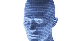 Blauer Kunstkopf mit Daten