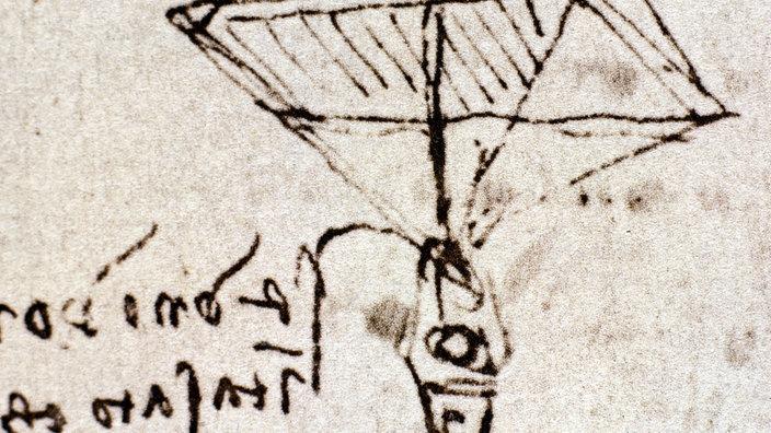 da vinci entwarf einen pyramidenfrmigen fallschirm mit einem holzpppchen in der aufhngung - Leonardo Da Vinci Lebenslauf