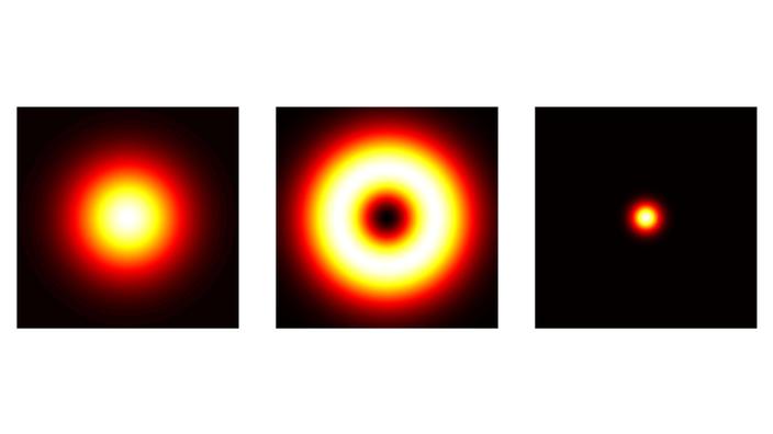 Tres imágenes una al lado de la otra.  Izquierda: un punto se ilumina en naranja sobre un fondo negro.  Medio: el punto es negro en el centro.  Derecha: solo se ilumina el centro del punto.