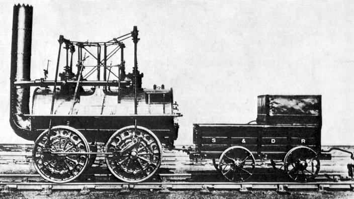"""Fotografía en blanco y negro de la locomotora. """"Locomoción"""""""