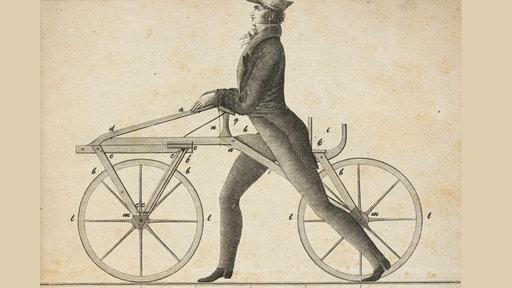 geschichte des fahrrads zeitgen ssischer prospekt zur laufmaschine verkehr technik planet. Black Bedroom Furniture Sets. Home Design Ideas