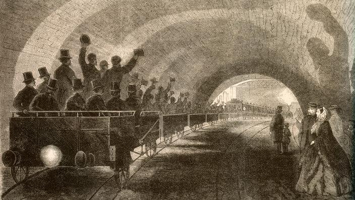 """Grabado en madera """"La primera prueba de conducción en el metro de Londres"""""""